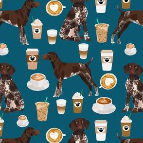 german shorthaired pointer coffee fabric design cute dogs fabric dog design
