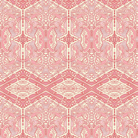 Dayglo Coral Victorian Squirm fabric by edsel2084 on Spoonflower - custom fabric
