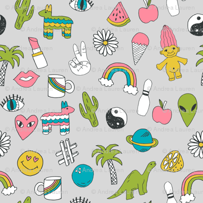 patches // 90s nostalgia dinosaurs kids summer prints summer pastel emoji fabric print
