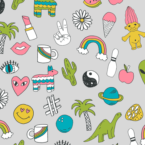 patches // 90s nostalgia dinosaurs kids summer prints summer pastel emoji fabric print fabric by andrea_lauren on Spoonflower - custom fabric