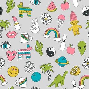 patches // 90s nostalgia dinosaurs kids summer prints summer pastel emoji fabric print