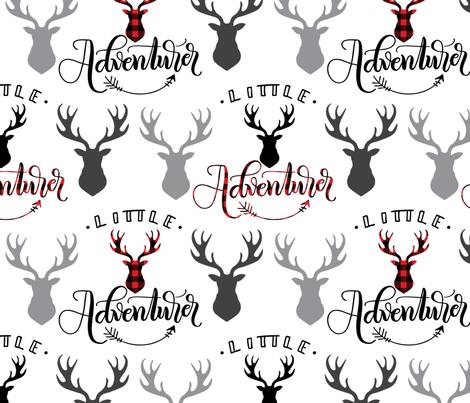 Little adventurer - 12 inch - Deer heads fabric by howjoyful on Spoonflower - custom fabric