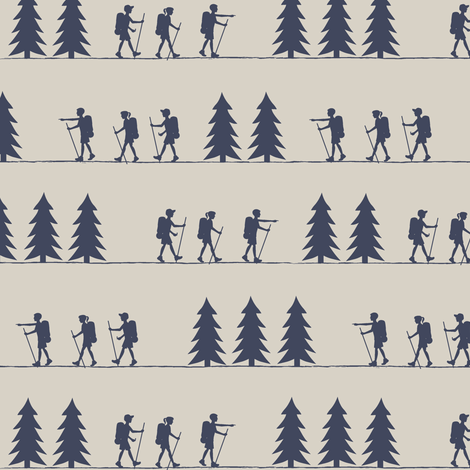 hiking superior blue on beige || adventure camp fabric by littlearrowdesign on Spoonflower - custom fabric