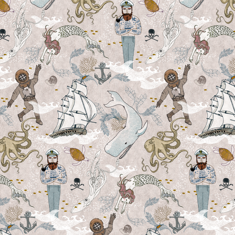 Cephalopods + Old Sea Dogs (Micro) fabric by nouveau_bohemian on Spoonflower - custom fabric