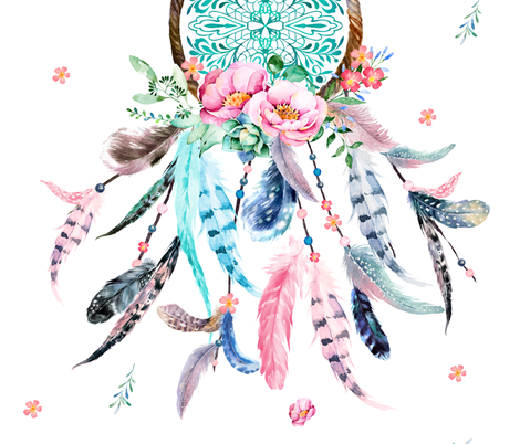 "42""x72"" Pink & Aqua Dream Catcher  fabric by shopcabin on Spoonflower - custom fabric"