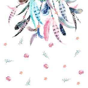 "42""x72"" Pink & Aqua Dream Catcher"
