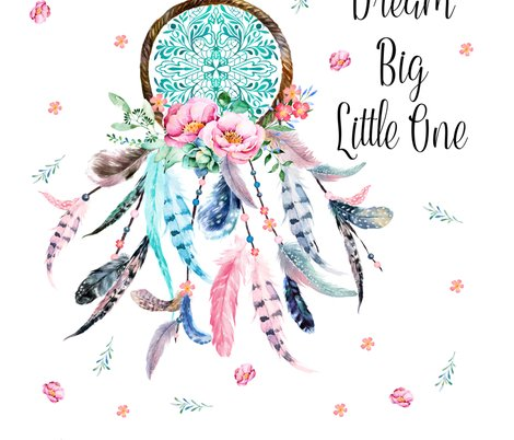 Quotes That Go With Dream Catchers 40x40 Dream Big Quote Pink Aqua Dream Catcher fabric 21