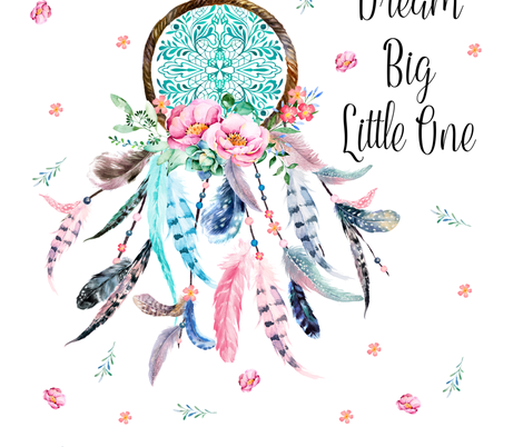 "42""x72"" Dream Big Quote - Pink & Aqua Dream Catcher fabric by shopcabin on Spoonflower - custom fabric"