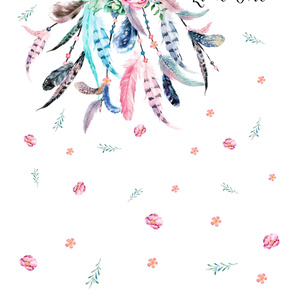 "42""x72"" Dream Big Quote - Pink & Aqua Dream Catcher"