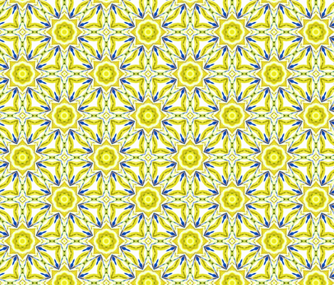 yellow_blue_flowers fabric by lfntextiles on Spoonflower - custom fabric