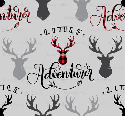 Little adventurer - 12 inch - Deer heads grey background