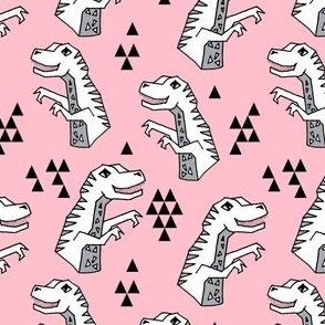 dinosaurs // pink dino fabric t-rex design dinosaurs fabric andrea lauren t-rex design