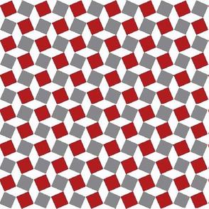 Rhombus Patten Fabric Red-Grey