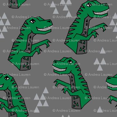 dinosaurs // dino trex fabric green and grey t-rex fabric andrea lauren design