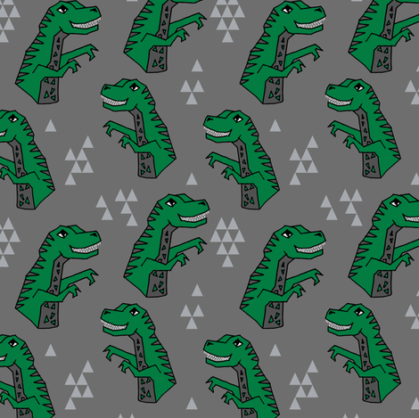 dinosaurs // dino trex fabric green and grey t-rex fabric andrea lauren design  fabric by andrea_lauren on Spoonflower - custom fabric