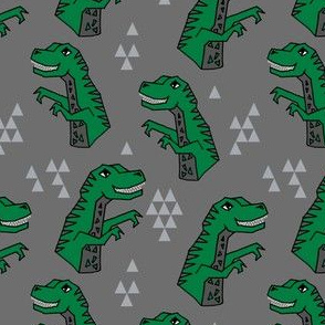 dinosaurs // dino trex fabric green and grey t-rex fabric andrea lauren design