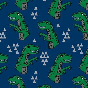 dinosaurs // dino fabric trex tyrannosaurs rex design navy and green trex fabric