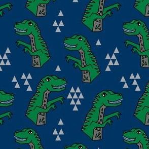 dinosaurs // dino fabric trex tyrannosaurs rex design navy and green trex fabric