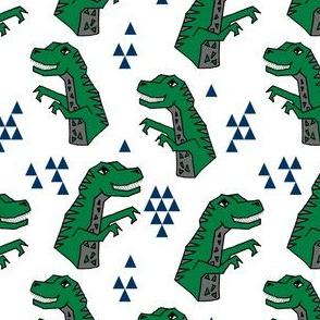dinosaurs // green dino fabric tyrannosaurus rex fabric