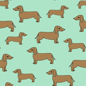 doxie // mint dogs fabric dog design dachshunds fabric