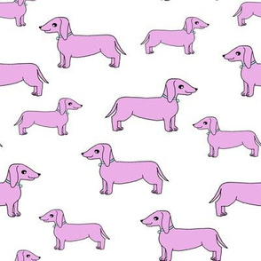 doxie //pastel puprle doxie fabric dachshunds dog fabric pastel purple design
