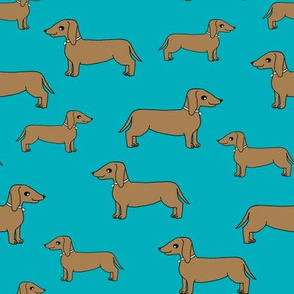 doxie // dogs fabric dachshund dog design turquoise dog fabric andrea lauren fabric