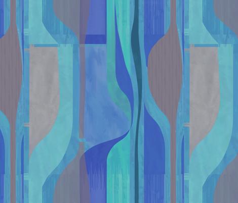 Midcentury Plateau-cobalt vertical fabric by wren_leyland on Spoonflower - custom fabric