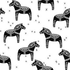 dala horse block print // black dala horse block print linocut fabric andrea lauren design