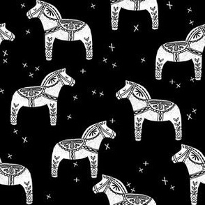 dala horse block print // black and white linocut fabric andrea lauren design andrea lauren fabric black and white scandi design
