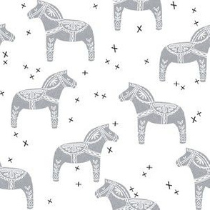 dala horse block print // grey dala horse design grey baby nursery sweet linocut fabric
