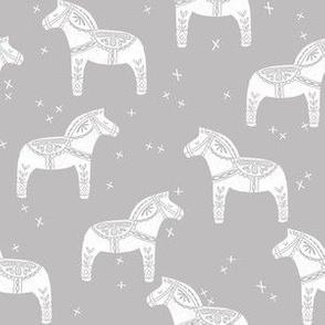 dala horse block print // grey dala horse fabric scandinavian fabric andrea lauren fabric nordic design