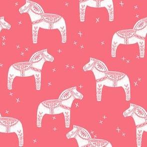 dala horse // pink dala folk block print linocut andrea lauren design andrea lauren fabric