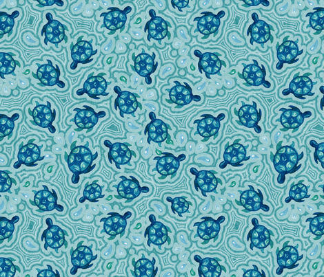 Watercolor turtle in water fabric by magic_pencil on Spoonflower - custom fabric