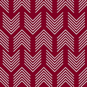 Feathers Arrow Chevron Garnet and White