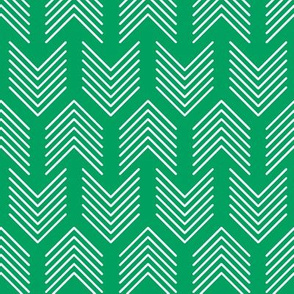 Feathers Arrow Chevron Green and White