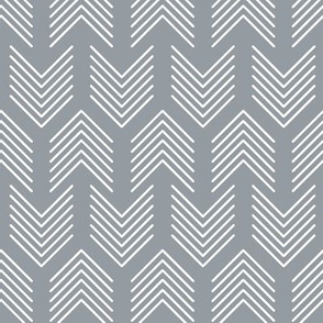 Feathers Arrow Chevron Grey and White