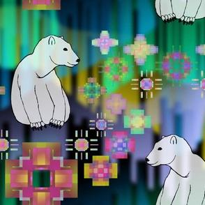 Polar Bear Northern Lights Play