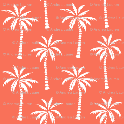 Palm Trees Palm Tree Fabric Orange Coral Tropical Palm