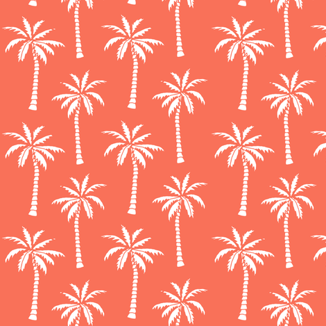 Coral Pattern Fabric palm trees // palm tree fabric orange coral tropical palm print