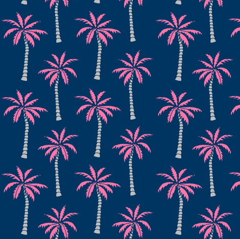 palm tree // pink and navy palms fabric tropical palms print andrea lauren design palm tropicals fabric by andrea_lauren on Spoonflower - custom fabric