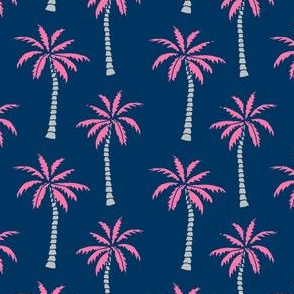 palm tree // pink and navy palms fabric tropical palms print andrea lauren design palm tropicals