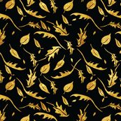 fall gold leaves on a black background