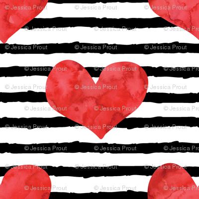 (micro print) watercolor hearts on stripes