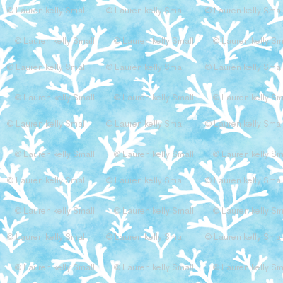 Seaweed White on Blue Watercolor
