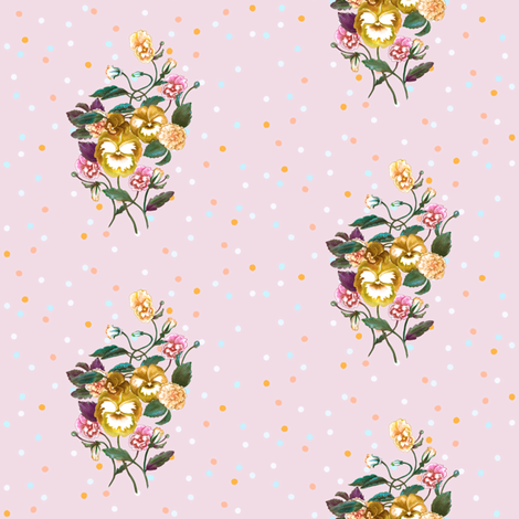 Pansy Posy, Sunshine Yellow on Pink & Dots fabric by thistleandfox on Spoonflower - custom fabric