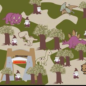 Gnomes fun trip in dinosaur park