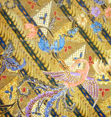 batik tribal folk art sarung sarong indonesian malaysian bali inspired phoenix birds peacocks floral flowers leaves leaf