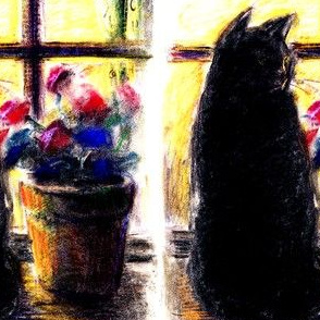 black cats window sills flowers abstract pots plants floral silhouette outlines