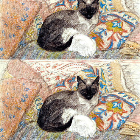 vintage retro siamese white cats kittens mothers family children pillows napping sleeping  fabric by raveneve on Spoonflower - custom fabric