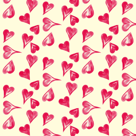 A Scatter of Crimson Hearts on Magnolia Cream fabric by rhondadesigns on Spoonflower - custom fabric